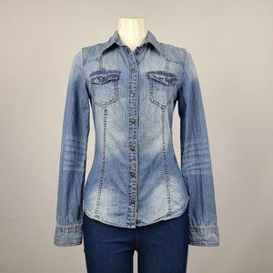 Guess Denim Button Up Top Size S